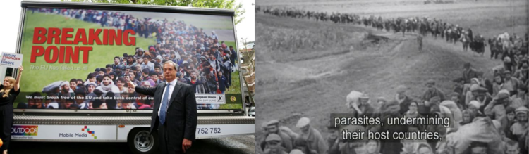 Image 1: Nigel Farage presenting his anti-immigration billboard (left) and Nazi propaganda movie (right)