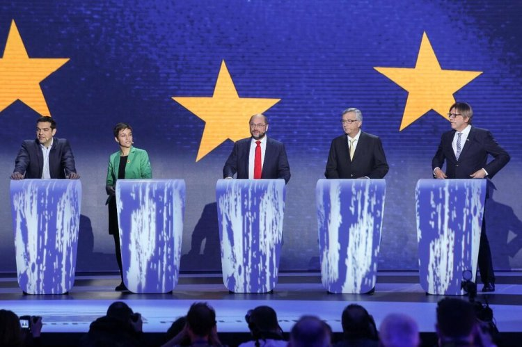 The five 2014 Spitzenkandidaten. From left to right: Alexis Tsipras (Communists), Ska Keller (Greens), Martin Schulz (Socialists), Jean-Claude Juncker (EPP) and Guy Verhofstadt (Liberals)