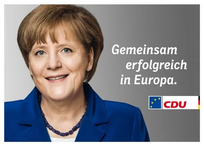 CDU's billboards for the 2014 European elections featured Angela Merkel, rather than their candidate David McAllister