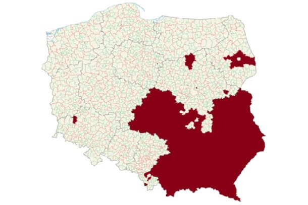 Image 5- Map of Poland, with the LGBT ideology-free zones in red. Almost a third of the country territory has declared these statements