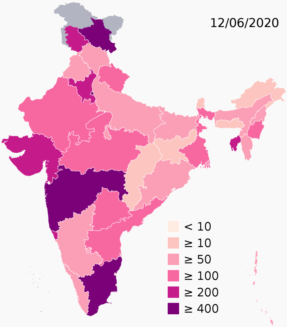 Map of cases per million in India by states (source: Ministry of Health and Family Welfare)