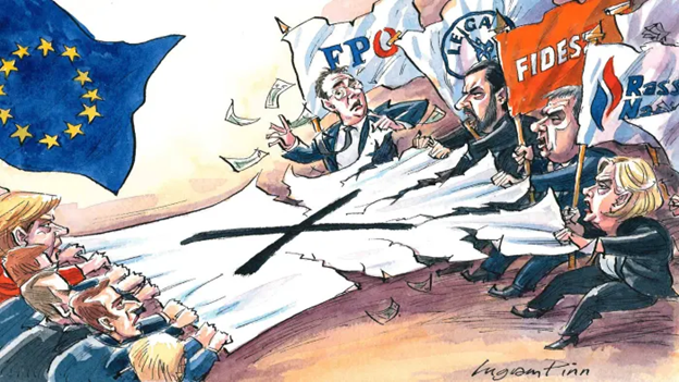 Cartoon representing the battle for citizen's vote between pro-Euro and anti-Euro parties in Europe.