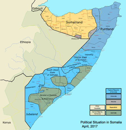 Map of the faction division in Somalia, as of 2017